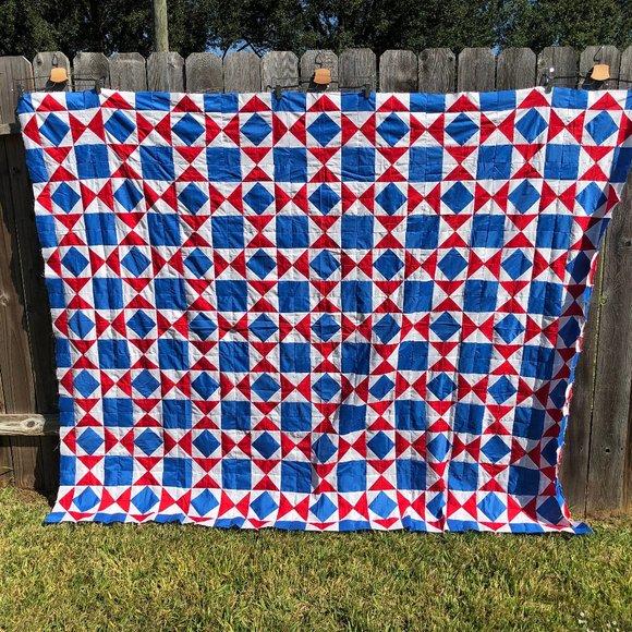 Vintage Handmade Quilt Top Patriotic Patchwork